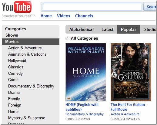Фильмы на Youtube